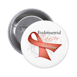 Superviviente - cáncer endometrial pin redondo de 2 pulgadas