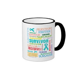 Superviviente Collage.png del cáncer ovárico Taza De Dos Colores