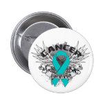 Superviviente con alas Grunge del cáncer ovárico d Pins