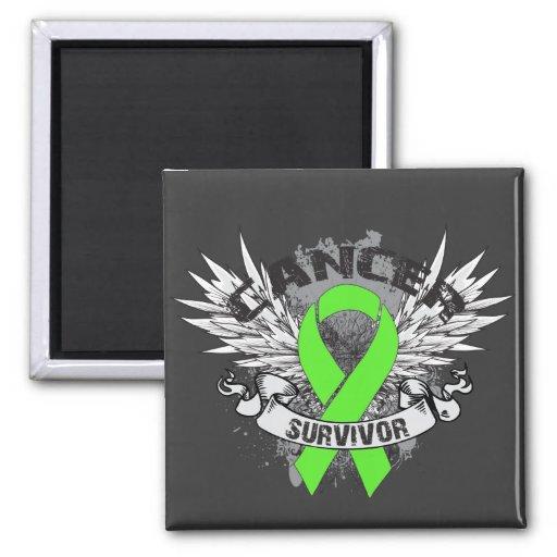 Superviviente con alas Grunge del linfoma de la ci Imanes