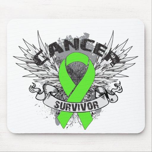 Superviviente con alas Grunge del linfoma de la ci Tapetes De Raton