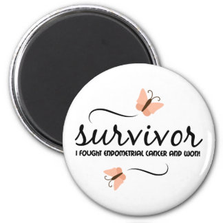 Superviviente - conciencia del cáncer endometrial imán redondo 5 cm