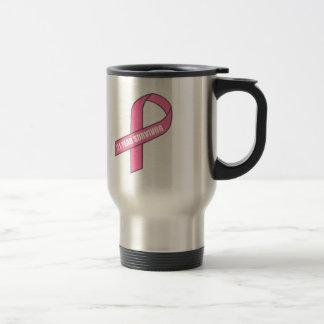 Superviviente de 21 años (cinta del rosa del taza térmica