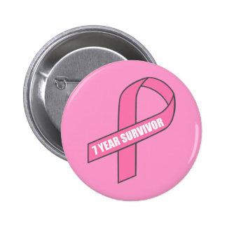 Superviviente de 7 años (cinta del rosa del cáncer pin redondo de 2 pulgadas