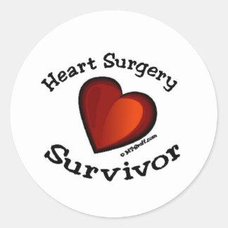 Superviviente de la cirugía de corazón pegatina redonda