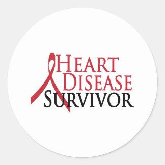 Superviviente de la enfermedad cardíaca pegatina redonda
