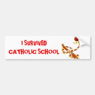 Superviviente de la escuela católica etiqueta de parachoque