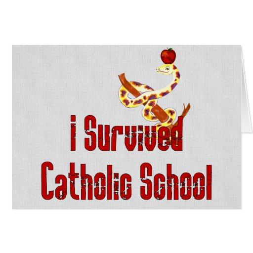 Superviviente de la escuela católica tarjeta de felicitación