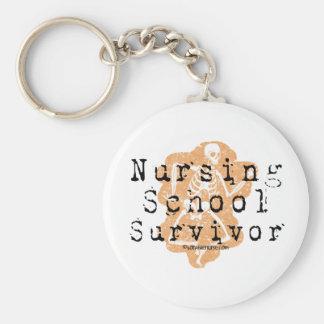 Superviviente de la escuela de enfermería llavero redondo tipo pin