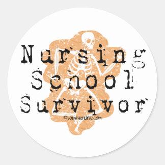 Superviviente de la escuela de enfermería pegatina redonda