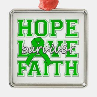 Superviviente de la fe del amor de la esperanza de adorno cuadrado plateado