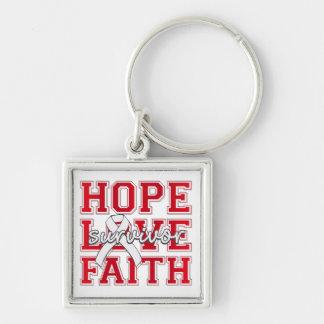 Superviviente de la fe del amor de la esperanza de llavero cuadrado plateado
