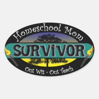 Superviviente de la mamá de Homeschool Pegatina Ovalada