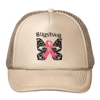 Superviviente de la mariposa del cáncer de pecho gorro de camionero