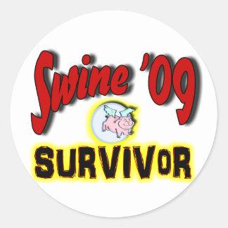 Superviviente de los cerdos '09 pegatina redonda