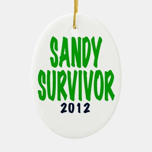 SUPERVIVIENTE de SANDY, verde, regalos del Adorno Navideño Ovalado De Cerámica