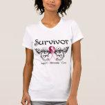 Superviviente Deco floral del cáncer de cabeza y c Camisetas