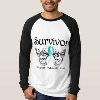 Superviviente Deco floral del cáncer de cuello del Playera