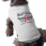 Superviviente Deco floral del cáncer de pecho Camisetas De Mascota