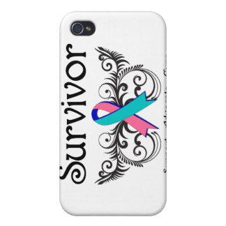 Superviviente Deco floral del cáncer de tiroides iPhone 4 Carcasa