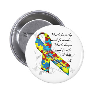 Superviviente del autismo pin redondo 5 cm