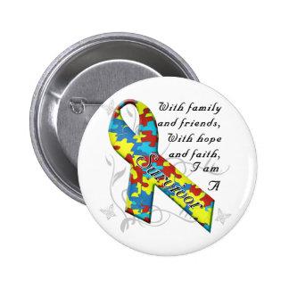 Superviviente del autismo pin redondo de 2 pulgadas