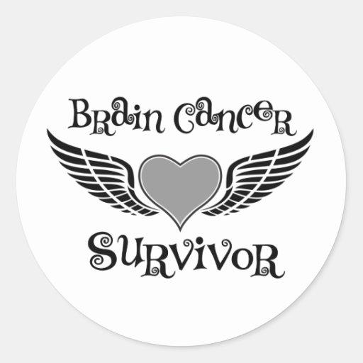 Superviviente del cáncer de cerebro pegatina redonda