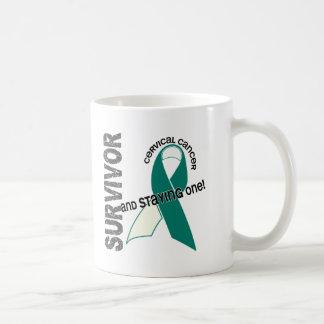 Superviviente del cáncer de cuello del útero tazas de café