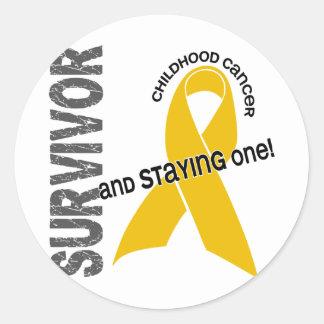 Superviviente del cáncer de la niñez etiqueta redonda