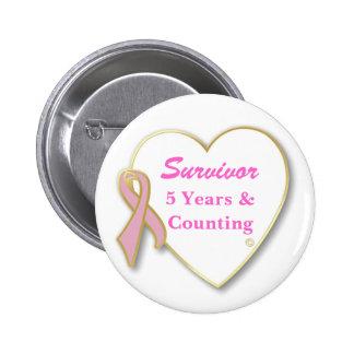 Superviviente del cáncer de pecho-- Años y cuenta Pin Redondo 5 Cm