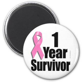 superviviente del cáncer de pecho de 1 año imán redondo 5 cm