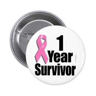 superviviente del cáncer de pecho de 1 año pin redondo de 2 pulgadas