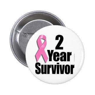 Superviviente del cáncer de pecho de 2 años pin redondo de 2 pulgadas