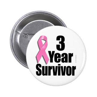 Superviviente del cáncer de pecho de 3 años pin redondo de 2 pulgadas