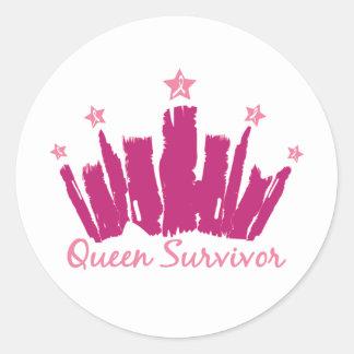 Superviviente del cáncer de pecho de la reina pegatina redonda