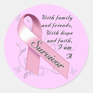 Superviviente del cáncer de pecho pegatina redonda