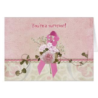 Superviviente del cáncer de pecho tarjeta de felicitación