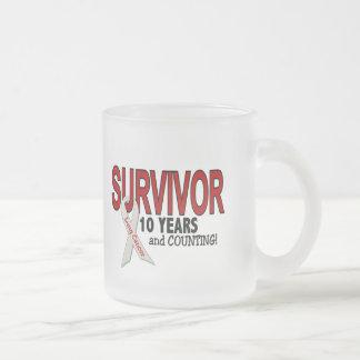 Superviviente del cáncer de pulmón 10 años taza de cristal