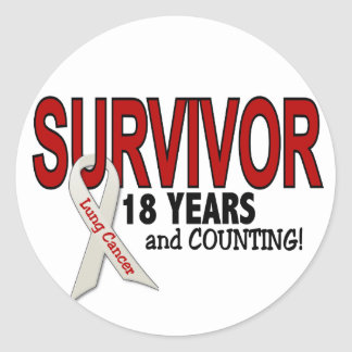 Superviviente del cáncer de pulmón 18 años pegatina redonda