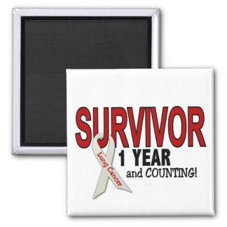 Superviviente del cáncer de pulmón 1 año imán cuadrado