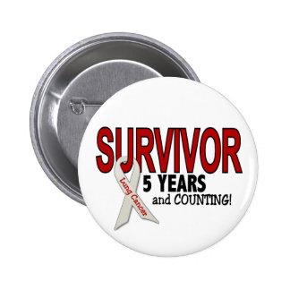 Superviviente del cáncer de pulmón 5 años pin redondo de 2 pulgadas