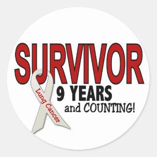 Superviviente del cáncer de pulmón 9 años pegatina redonda