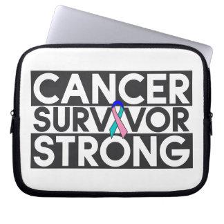 Superviviente del cáncer de tiroides fuerte funda computadora