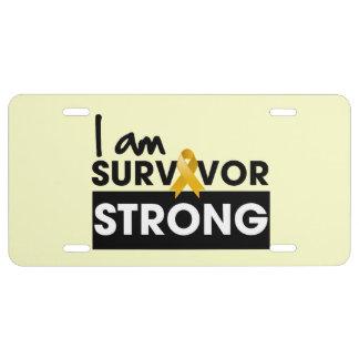 Superviviente del cáncer del apéndice fuerte placa de matrícula