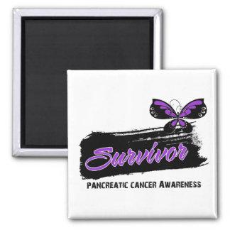 Superviviente del cáncer pancreático de la maripos imán cuadrado