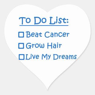 Superviviente del cáncer para hacer la lista pegatina en forma de corazón
