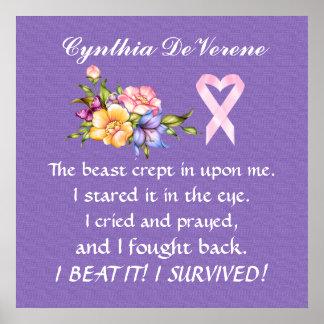 Superviviente del cáncer - poster de la conciencia