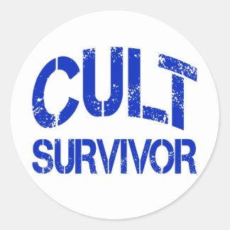 Superviviente del culto pegatina redonda