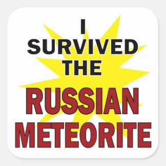 Superviviente del meteorito pegatina cuadrada