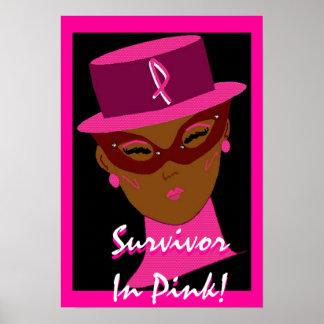 """""""Superviviente en"""" el poster rosado - personalizab"""